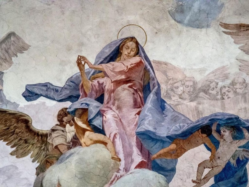 church, to pray, sky, virgin, angel, maria, italy, art