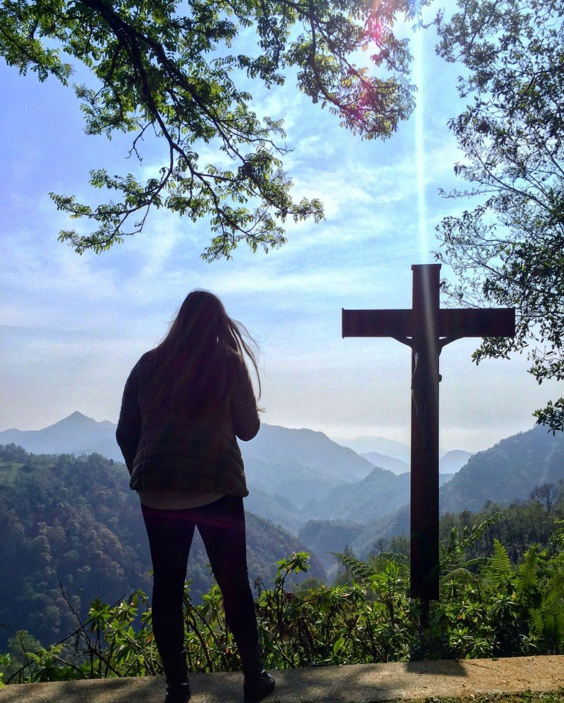 cross, jesus, nature, god, mountains, contemplate