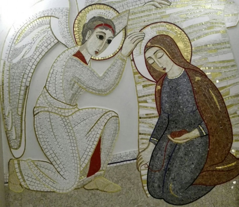 virgin, angel, mosaic, mother, maria, annunciation, humility, archangel