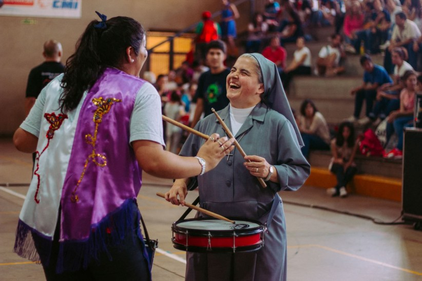nun, young boys, music, vocation, joy, sister, community, working day