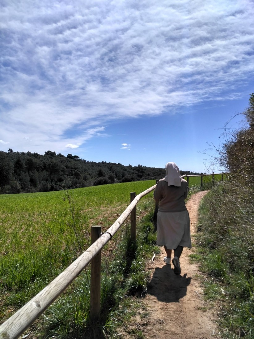 landscape, path, sky, religious, nun, consecration, consecrated, field