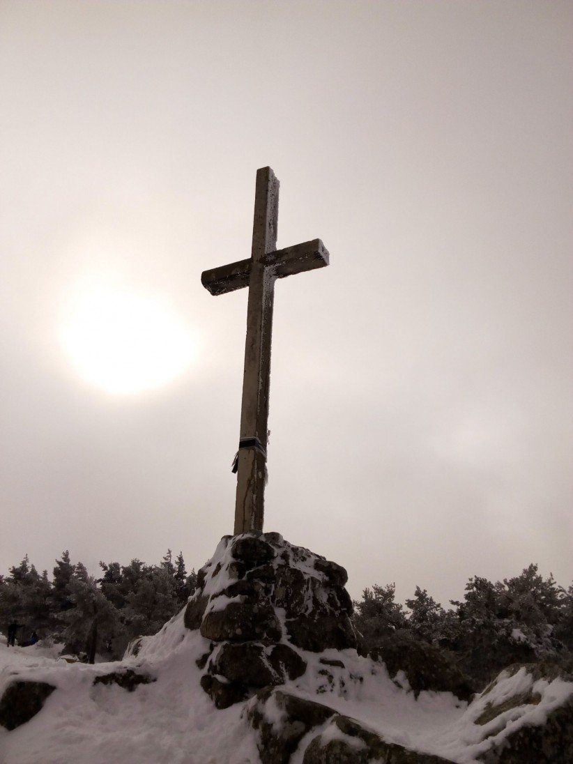 light, cross, montaña, nature, snow, port