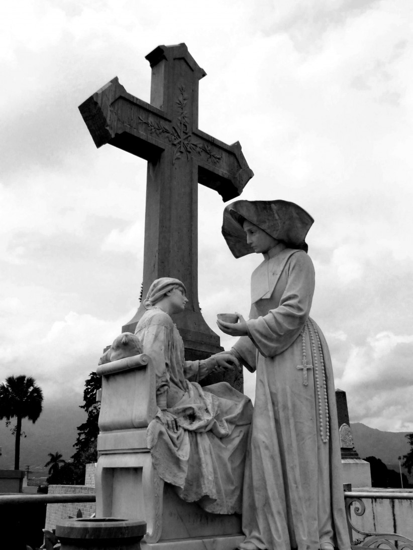 death, sculpture, cemetery, cemetery, sisters, charity