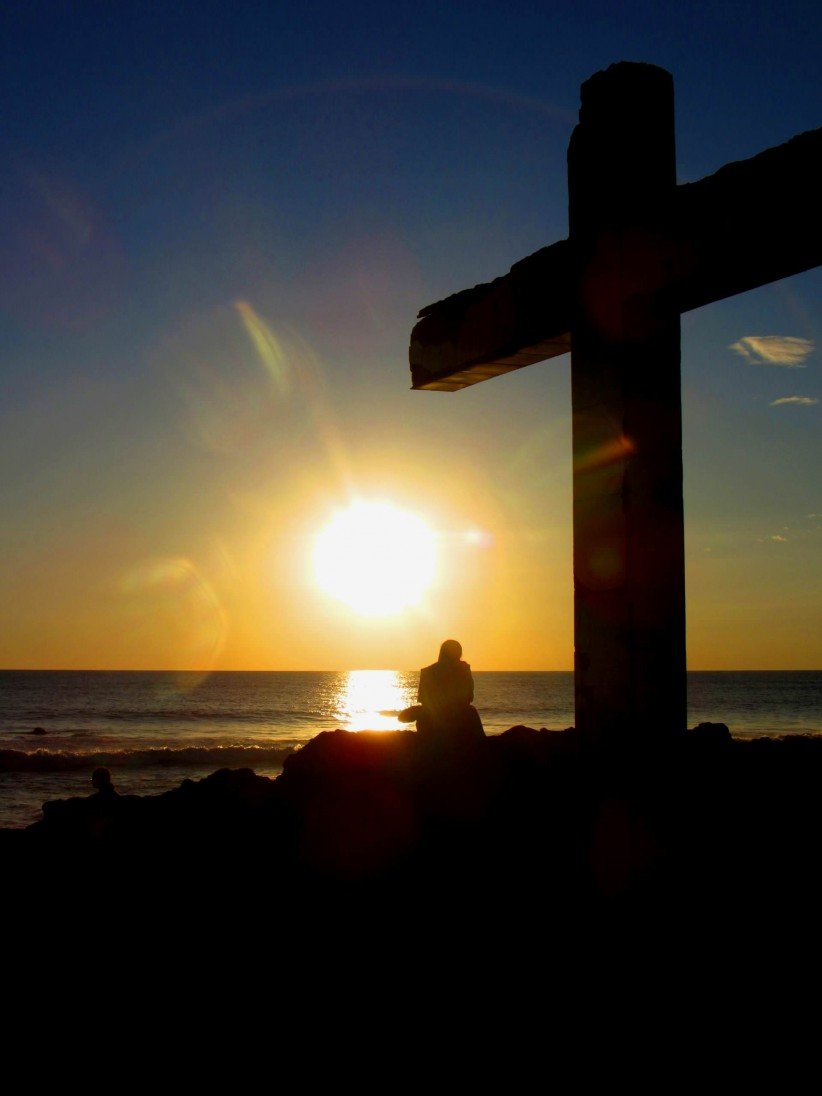 cross, nun, beach, religious, consecrated, sea, sunset, contemplate, tranquility, calm, contemplation