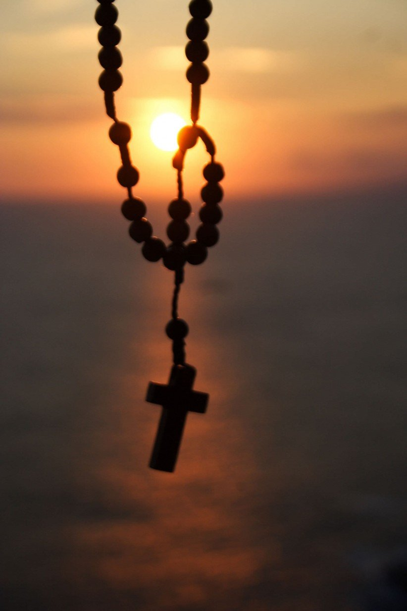 rosary beads, virgin, creation, sun, faith, rosary