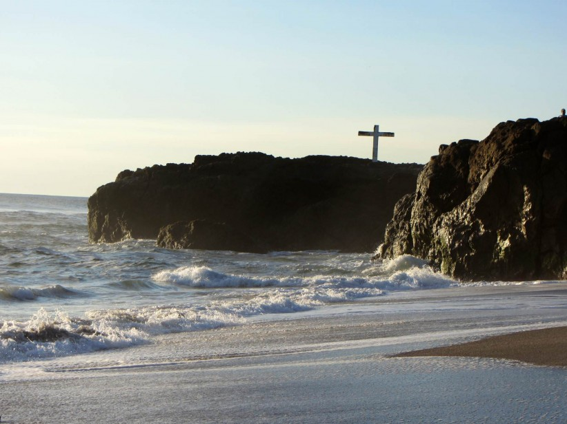 christ, cross, water, sea, arena, beach, shore, peña