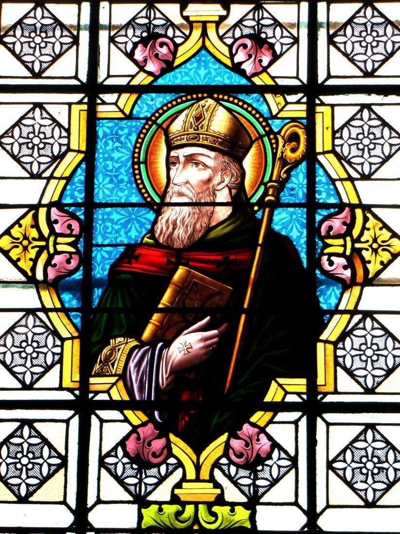 bishop, art, stained glass, holiness, sacred, agustin, patrística